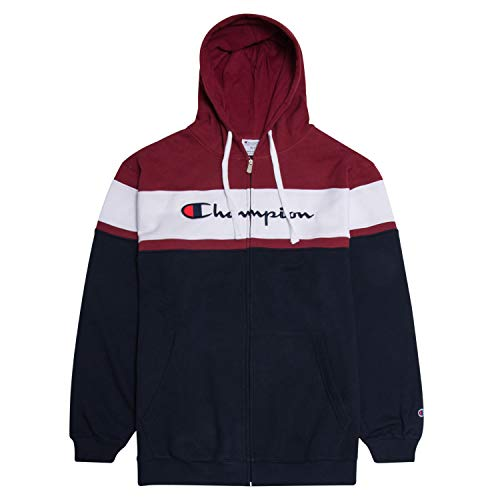 Champion Big and Tall Mens Color Block Full Zip Hoodie with Embroidered Logo BGDY/WHT/NVY XLT