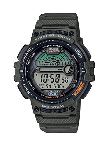 Casio Men's Fishing Timer Quartz Watch with Resin Strap, Green, 24.1 (Model: WS-1200H-3AVCF)