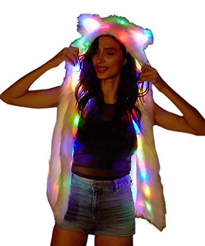 M MAYEVER Soft Faux Fur Led Jacket Light Up Winter Coat with Hood for Halloween Xmas Party Costume led002 (L, Bear Ear Vest)