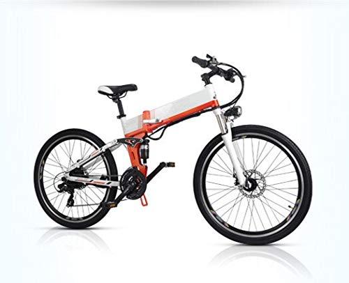 LQRYJDZ Aluminum Alloy Frame 26 Inch Folding Mountain E Bike 48V 10.4Ah LG Hidden Battery 250W 350W Electric Bicycle (Color : White Spoke Wheel)