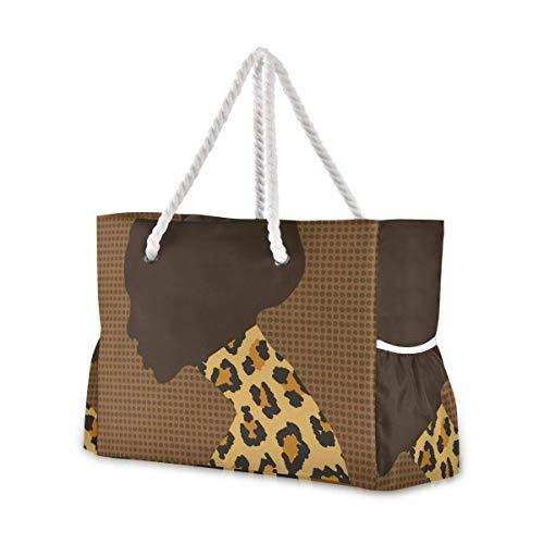 Bolsas de playa grandes Totes de lona Bolsa de hombro Retrato Mujer Africana y Leopardo Textura Resistente al Agua Bolsas para Gimnasio Viajes Diarios