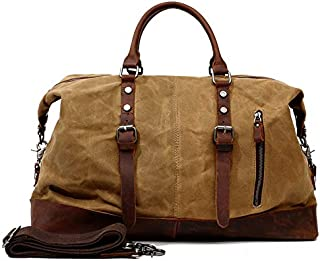 Duffel Bag Genuine Leather Waxed Canvas Waterproof Vintage Travel Tote Bag Weekender Gym Overnight Bag for Men and Women S...