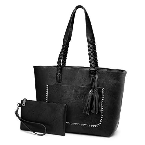 LOVEVOOK Retro Umhängetasche Damen Schultertasche Mode Freizeit Handtaschen Travel Tote Mit Quasten Designer Tasche 2er Set für Frauen Schwarz