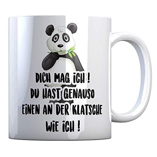 Tassenbude Kaffee-Tasse mit Spruch Geschenk-Idee für die beste Freundin besten Freund Verwandte/Bekannte mit Pandabär ich mag dich Panda-Motiv beidseitig bedruckt spülmaschinenfest
