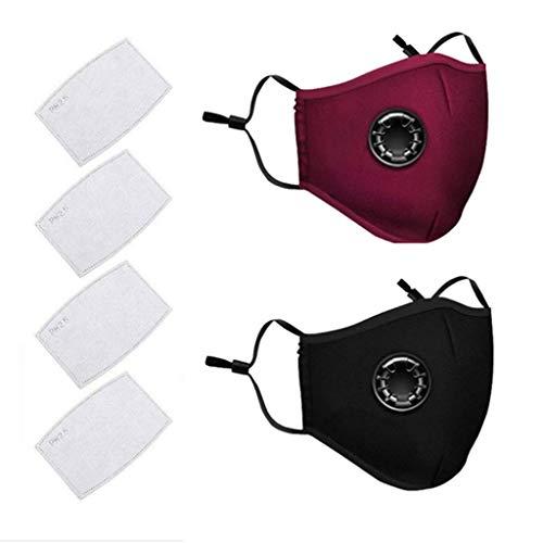 AmyGline Outdoor Baumwolle-Maske-Mundschutz,mit Aktivkohlefilter,Wiederverwendbar,Waschbar,Anti-Staub,Atmungsaktiv,Grau Schwarz,für Radfahren (2, Rot + Schwarz)