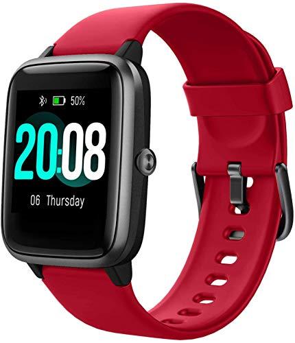 YSNJG Smart Watch, Fitness Tracker Touch Screen Activity Tracker, Reloj Impermeable IP68 con Ritmo Cardíaco Sleep Monitor Pedómetro Paso,Rojo