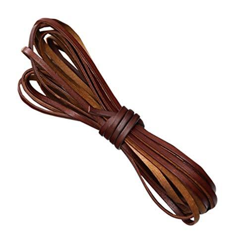 Healifty - Cuerdas de cuero genuino para joyas, cuerdas de hilo de cuerda para manualidades, joyas, artesanía, accesorios para pulsera, collar marrón de 3 mm