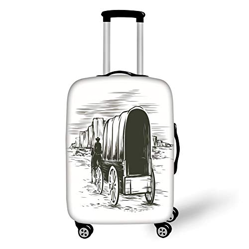 Travel Luggage Cover Suitcase Protector,Western,Old Traditional Wagon...