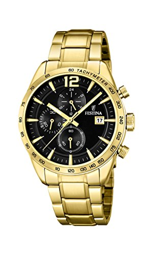 Festina Unisex Erwachsene Chronograph Quarz Uhr mit Edelstahl Armband F20266/3