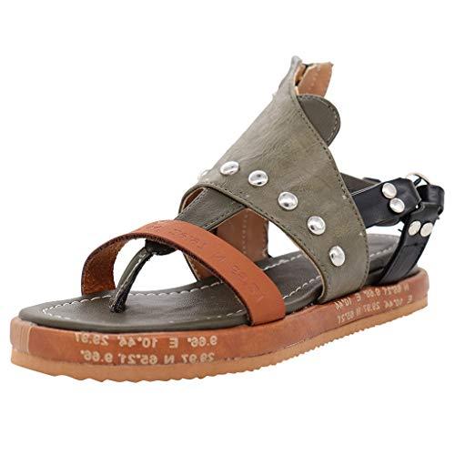 Luckycat Mujer Sandalias Planas Verano Tobillo Correa Hebilla Zapatillas Plataforma Zapatos Plano Cómodos Sandalia con Pulsera para Mujer Sandalias de Talón Abierto para Mujer
