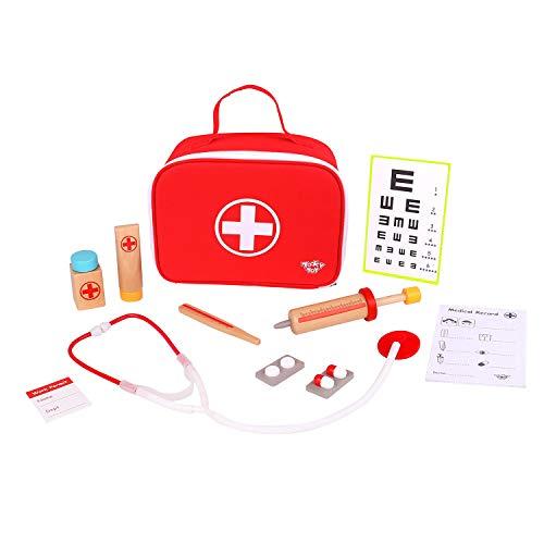 Tooky Toy Trousse médicale en Bois - Malette Valise Docteur - Jeu d'imagination - Jouet pour Enfant - Jouet en Bois