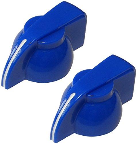 Aerzetix 2 Potentiometer Knöpfe für geriffelten Achse 6mm Ø19,5x14mm. Farbe: blau