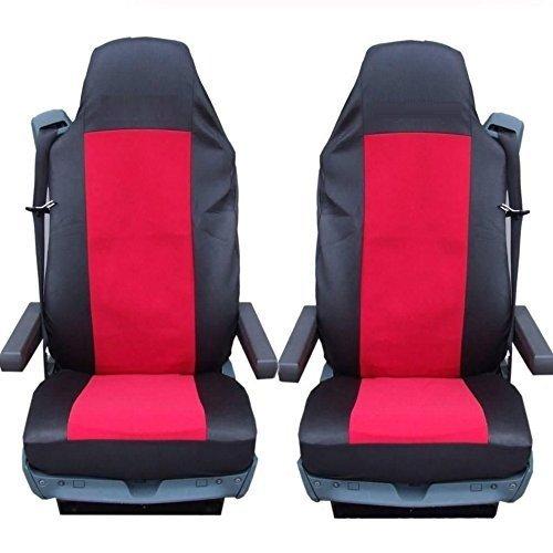 2 x vrachtwagen precies passende stoelhoezen rood/zwart hoezen nieuw hoogwaardig polyester