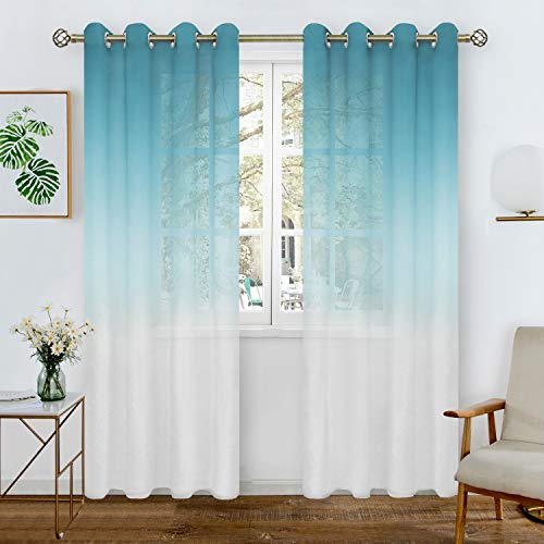 BGment Leinen-Optik Farbverlauf Sheer Vorhänge für Wohnzimmer, Light Filter und Privat Halbtransparent Voile Gardinen mit Ösen für Schlafzimmer, 2 Stück(H241 x B132 cm, Blau und Weiß