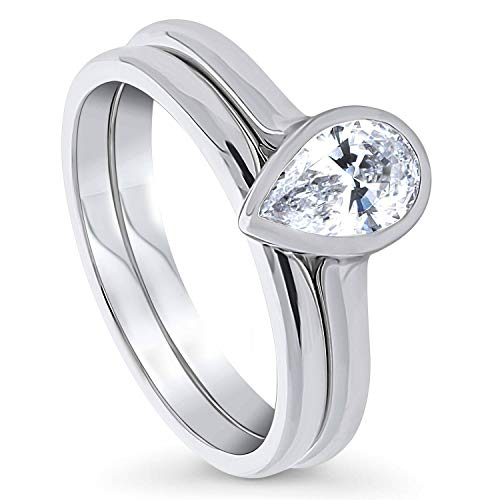 BERRICLE Rhodium Plated Sterling Silver Solitaire Engagement Wedding Ring Set Made with Swarovski Zirconia Pear Cut 0.81 CTW Size 6