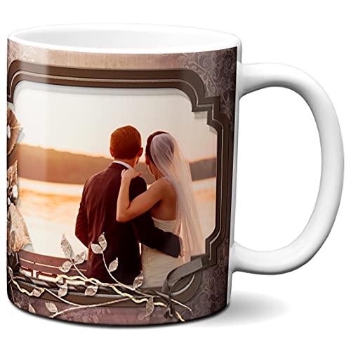 Spersonalizowany kubek z 2 zdjęciami - wykonany na zamówienie - spersonalizowany kubek - spersonalizowany kubek do kawy - motyw tapety brązowych liści - 325 ml ceramiczny kubek do herbaty