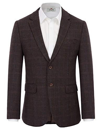 Men's Wool Blend Sport Coat Grid Pattern Blazer Suit Jacket Dark Coffee S