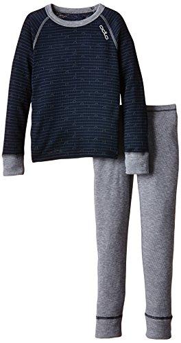 Odlo Kinder Funktionsunterwäsche Jungen Set Warm Kids Shirt Sleeve Pants Long Bekleidung, Navy New - Grey Melange, 140