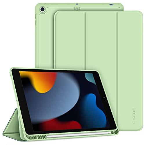 CACOE Funda Compatible con iPad 9 Generación 8 Generación 7 Generación, Ranura para bolígrafo, Ultra Slim Protectora Carcasa con Función de Soporte Compatible con iPad 10.2 2021 2020 2019,Verde