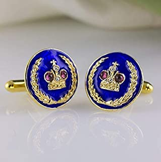 Blue Cufflinks Royal Crown with Garnets Jewelry for Men Gold Vermeil over 925 Sterling Silver