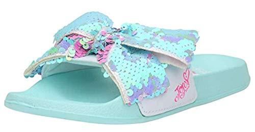 JoJo Siwa Girls' Reversible Sequins Slide Sandals (Medium 13/1, Teal)