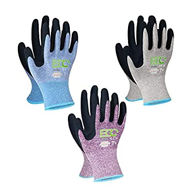 KANGLONGDA 7 Pairs Womens Gardening Gloves with Micro Foam Coating, EN388 2131X Texture Grip Work Gloves for Gardening & General Purpose, 3 Purple + 3Blue +1 Grey from