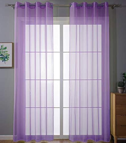 2er-Pack Ösen Gardinen Transparent Vorhang Set Wohnzimmer Voile Ösenvorhang Bleibandabschluß HxB 245x140 cm Lila, 203322