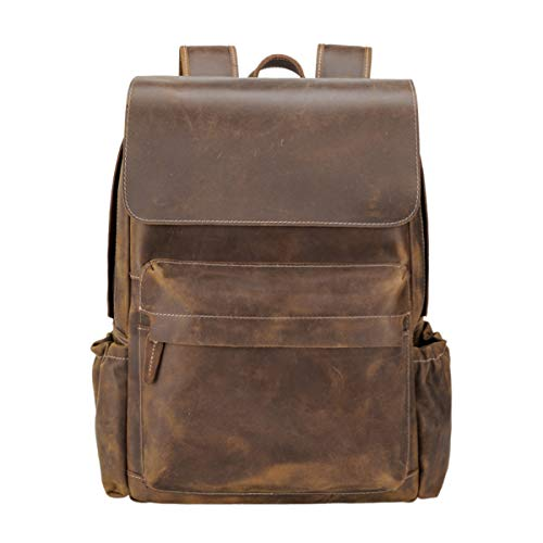 TIDING Genuine Leather Backpack 15.6 inch Laptop Bag Handmade for Men with Pen Card Slots and Trolly Strap, Large Capacity Daypacks for Travel