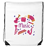 DIYthinker Trombone Guitare Instrument de Musique Motif Drawstring Backpack Sacs de...