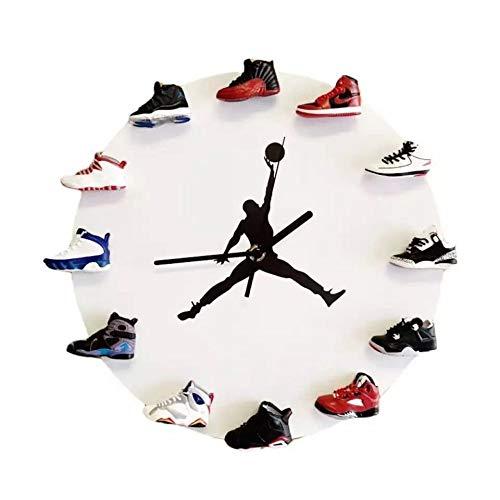 LORT Creative Clock, 3D Mini Sneakers Reloj de Pared con decoración de Estilo Sneakers, Decoración del hogarwhite1