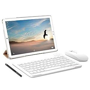 Tablet 10.0 Pulgadas YESTEL Android 9.0 Tablets con 3GB RAM + 32GB ROM - Dual SIM Call/WiFi | Bluetooth | GPS, 8000mAH, con Ratón | Teclado y Cubierta-Dorado