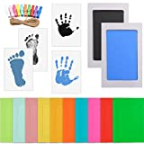 WOWOSS Kit de Marco de Fotos para Manos y Huellas de Bebé, 10 Marcos de Fotos con 10 Pinzas de Madera y Cuerda (Negro y Celeste)