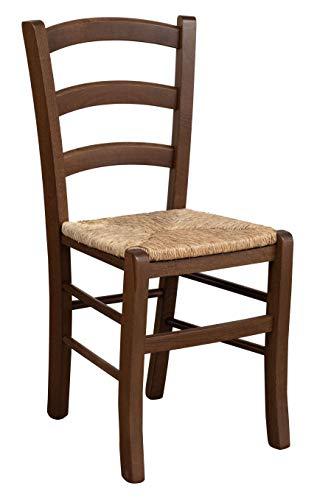 Biscottini - Silla de madera maciza de haya, acabado nogal lacado con asiento de paja, fabricada en Italia, 45 x 45 x 88 cm