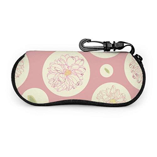 sherry-shop Brillenetui mit Karabinerhaken Rosa Blumenmuster Creme Dahlie Ultraleicht Tragbare Neopren Reißverschluss Sonnenbrille Weiche Hülle - Für die meisten Brillen