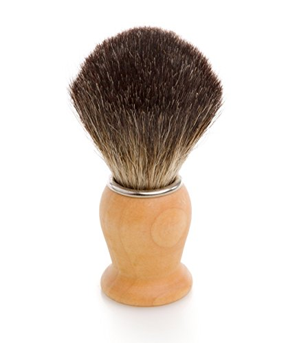 George Greenwood – Blaireau de rasage en poils de blaireau de Noir avec un manche en bois et pur Bague Chromée