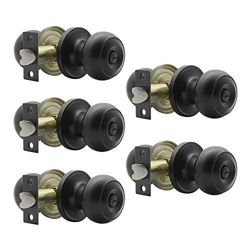 Matte Black Door Knobs Privacy Door Knob, Bed and Bath Door Knob Door Lockset, Locking Door Knob, Interior Door Use, 5 Pack