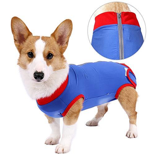 Hunde-Einteiler, atmungsaktiv, für chirurgische Bauchwunden und Hautschutz, Anti-Leck-Kegel, E-Halsband-Alternative nach Operationen