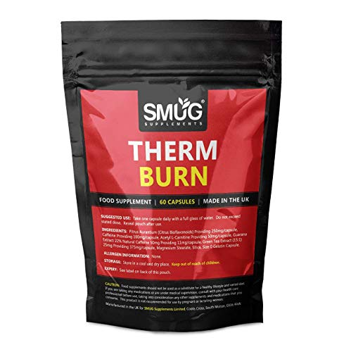 Therm Burn Capsules | Fat Burner and Weight Loss Supplement | Ingredients Including Caffeine, Green Tea, Guarana and Citrus Aurantium | Suitable for Men and Women (60 Capsules - Standard Pouch)