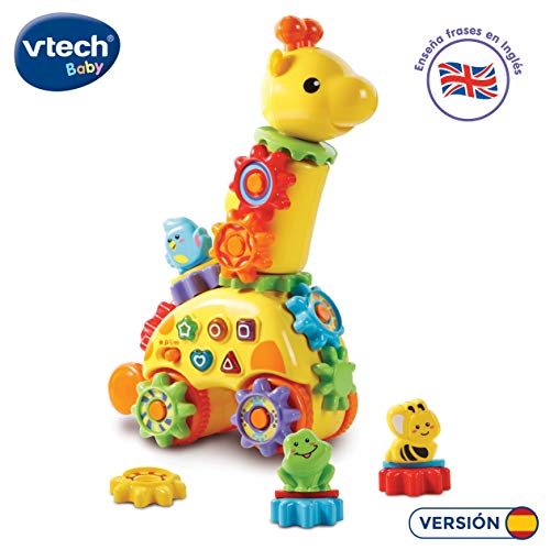 Vtech Baby – Girafe parlanchina, animal interactif qui enseña bilingue anglais, couleurs, formes et animaux, avec roues intelligent pour le développement cognitif et la motricité (Vtech 3480 – 199122)