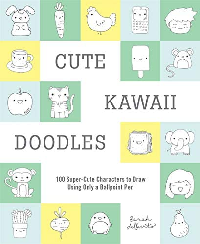 Cute Kawaii Doodles Guided Sketchbook 100 Super Cute Characters to Draw Using Only a Ballpoint product image