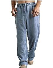 YOCIA Joggingbroek voor heren, vrijetijdsbroek, broek van katoen en linnen, slim fit, vrijetijdsbroek met trekkoord