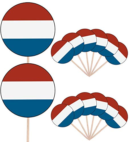 Luxemburgse Vlag Feestje Voedsel Taart Cupcakes Picks Sticks Vlaggen Opstaan Decoraties Toppers (Pak van 14)