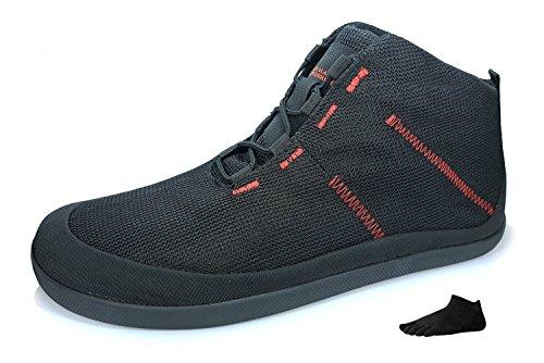 Sole Runner Barefoot Shoes T1 Allrounder 4 + Zehensocke 11005, Size:42;Color:Black/Red