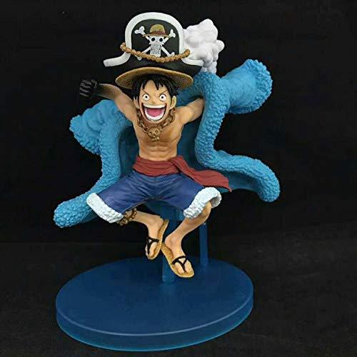 QIYHB Einteilige Anime-Figur 20. Jahrestag Blaue chinesische Kleidung Strohhut Ruffy Premium Edition Skulptur Dekoration Dekoration Statue Figur Modell Spielzeugpuppe Hoch 16cm