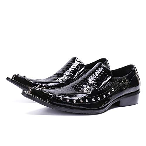 Mr.Zhang's Art Home Men's shoes Puntiagudos Conjuntos de Moda Casual Europea y Americana de Zapatos de Hombre Remaches de Cuero de Charol Zapatos de Hombre Negro (Ropa)