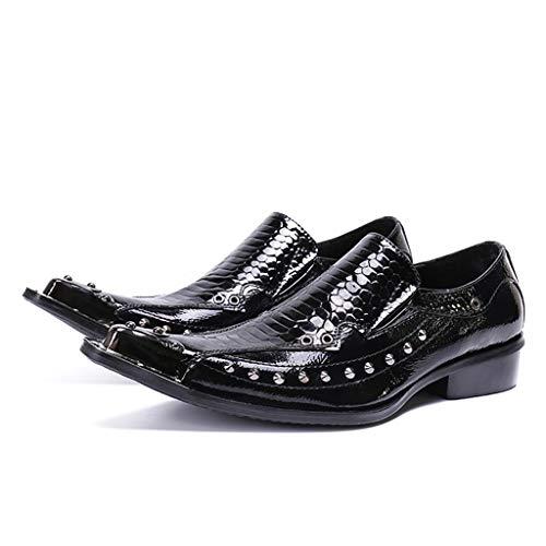 Mr.Zhang's Art Home Men's shoes Puntiagudos Conjuntos de Moda Casual Europea y Americana de Zapatos de Hombre Remaches de Cuero de Charol Zapatos de Hombre Negro