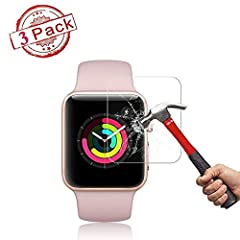 Please note: Due to the round edges of the screen, this screen protector only covers the flat portion of the screen. It does not cover the entire surface area of the screen. Specifically designed for Apple Watch 40MM Series 4. Ultra clear (99.9% tran...