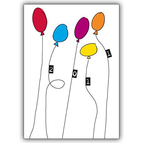 Wenskaarten met korting voor hoeveelheid: Verzend oudejaarsavond groet met felle kleurrijke ballonnen • als mooie wenskaart met envelop voor Kerstmis aan het einde van het jaar voor familie en bedrijf 4 Grußkarten