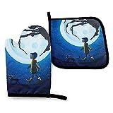 Yuanmeiju Gants de Protection Cor Aline Blue Full Moon Nightmare Cat Oven Mitt and...
