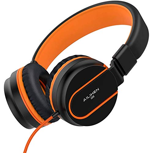 AILIHEN I35 Kid Headphones with Microphone Volume Limited 85dB Children Girls Boys Teen Lightweight Foldable Wired Headset for School Online Course Chromebook Cellphones Tablets (Black/Orange)